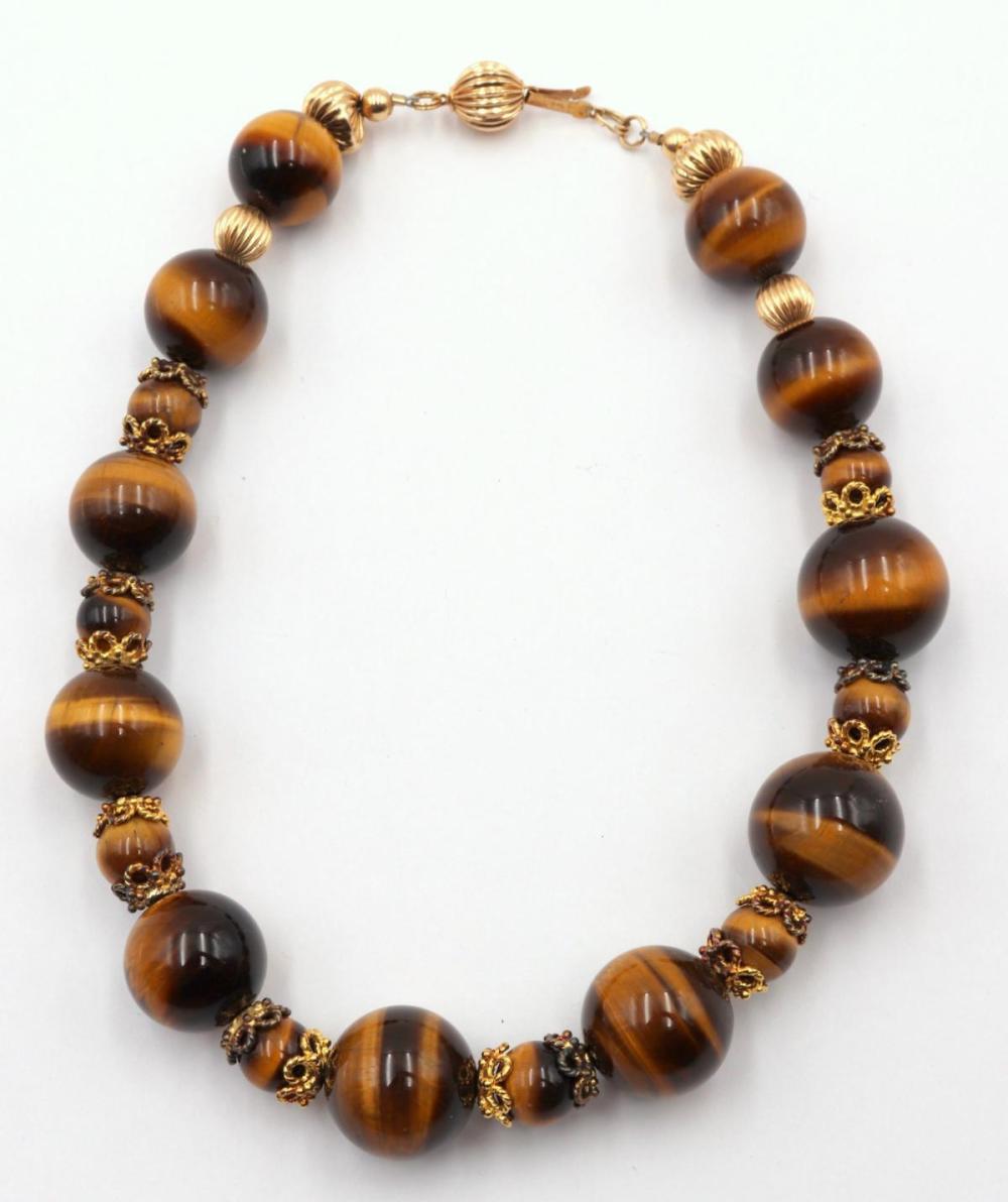 Vintage 14Kt & Tiger Eye Beaded Necklace