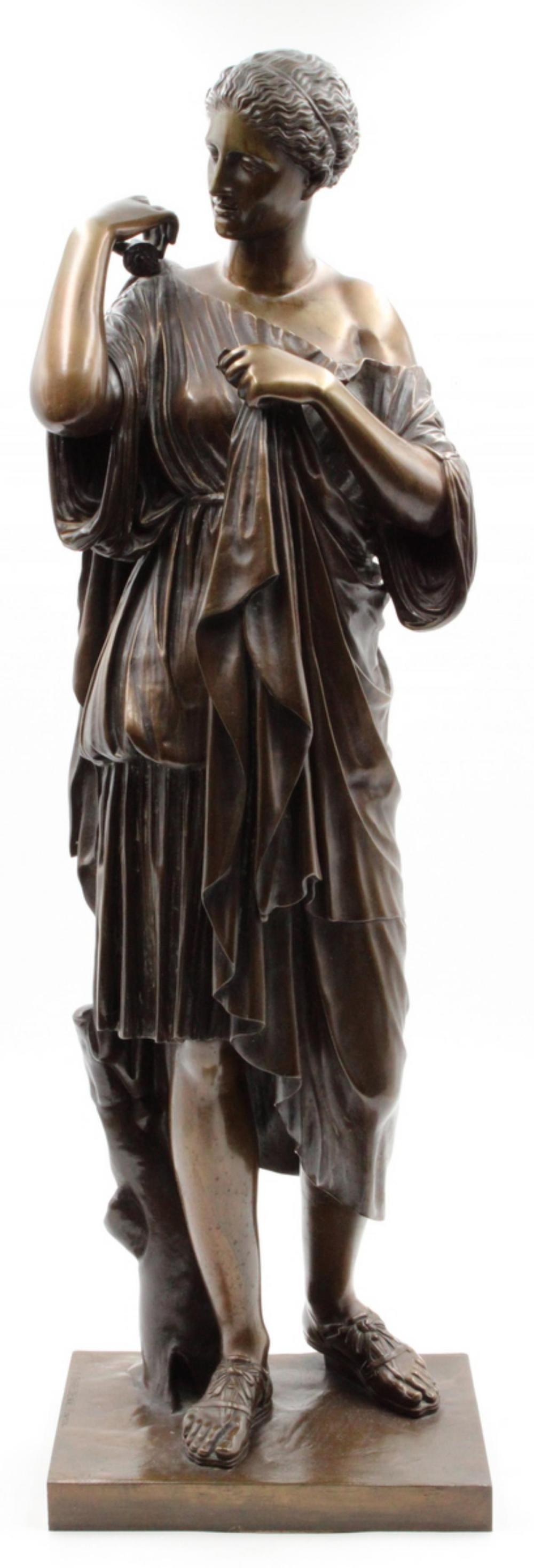 """19th C. F. Barbedienne """"Diana of Gabii"""" Bronze"""