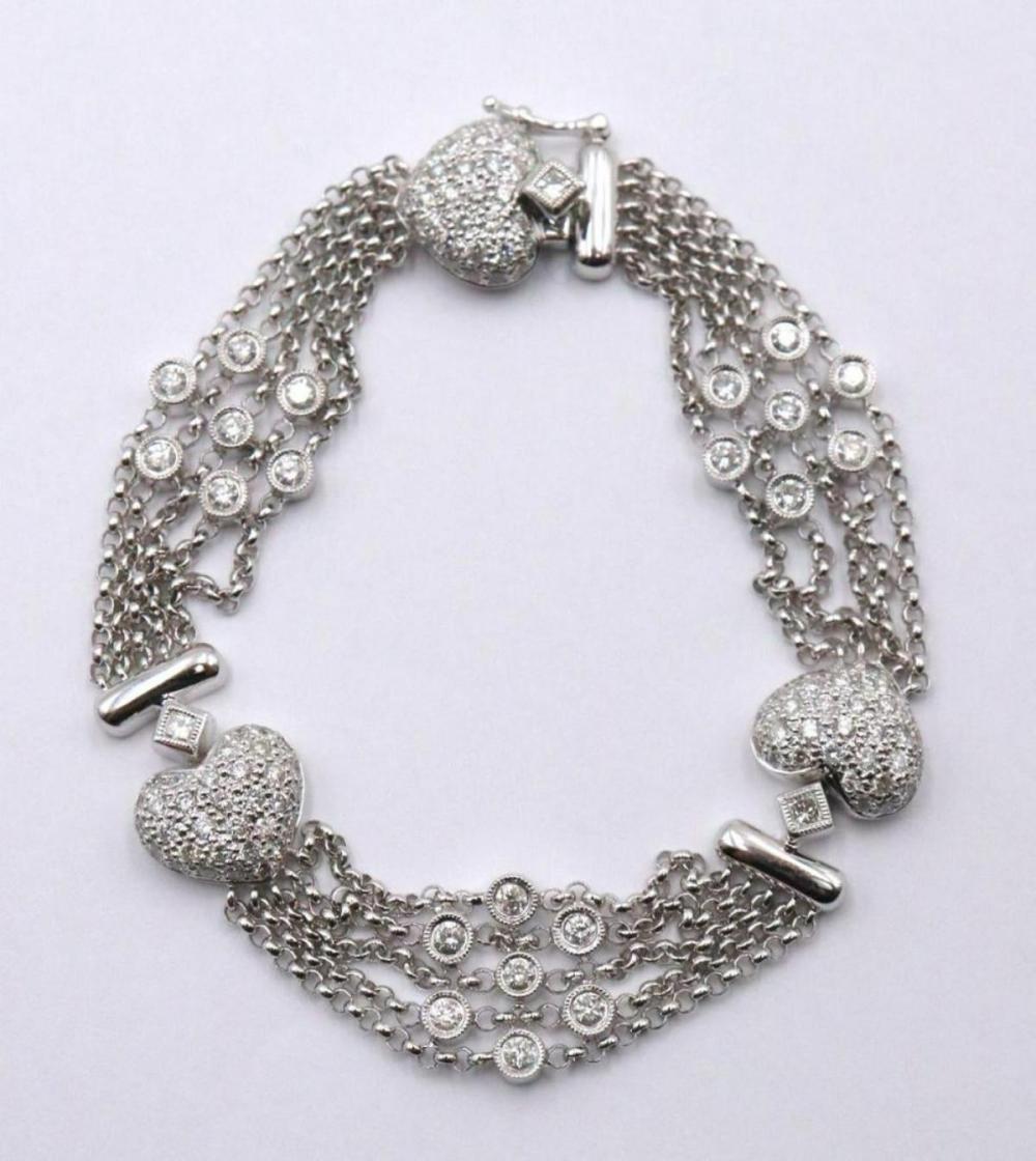 18Kt White Gold Diamond Heart Bracelet