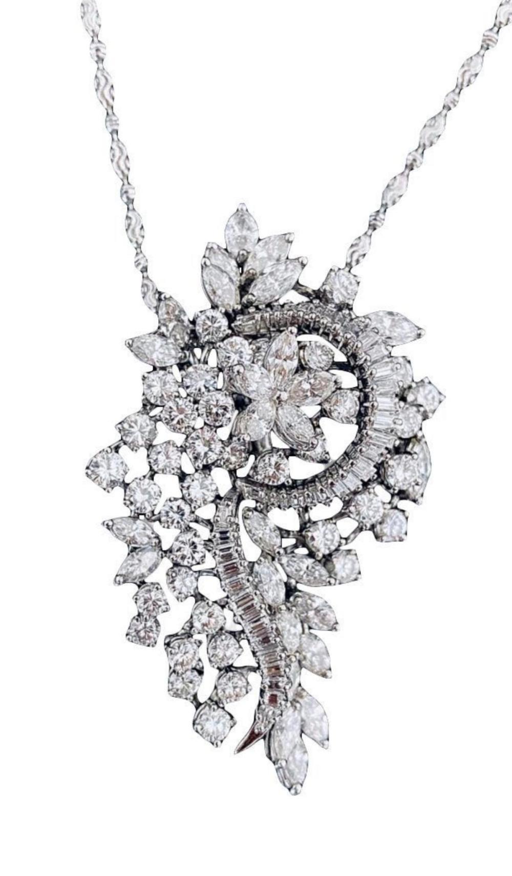 Rare 14Kt 10.48ct. Diamond Pendant w/ Necklace