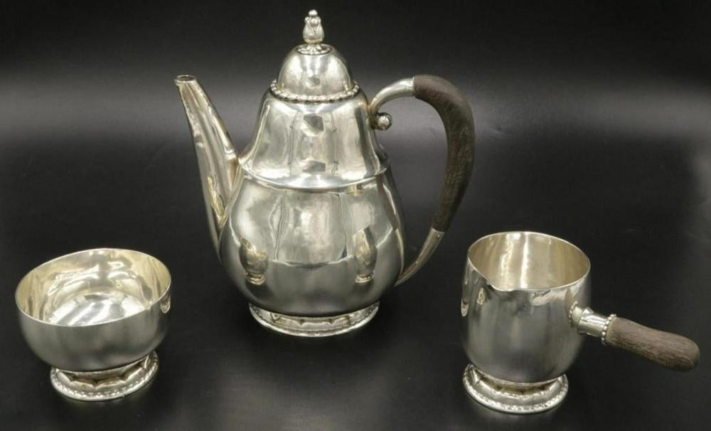 Early Georg Jensen Sterling Silver Tea Set
