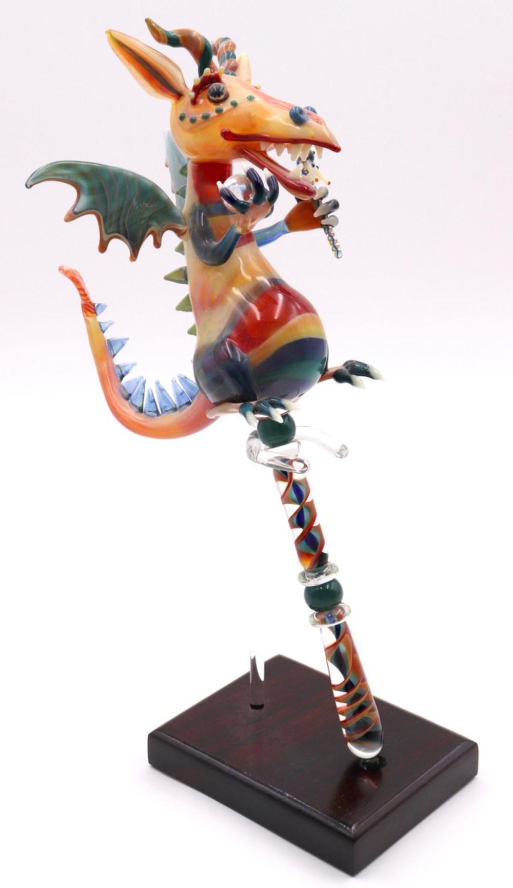 American Blown Art Glass Dragon Sculpture