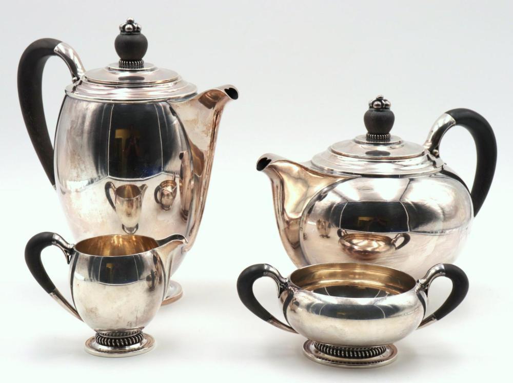 Modernist C.C. Hermann Sterling Tea Set