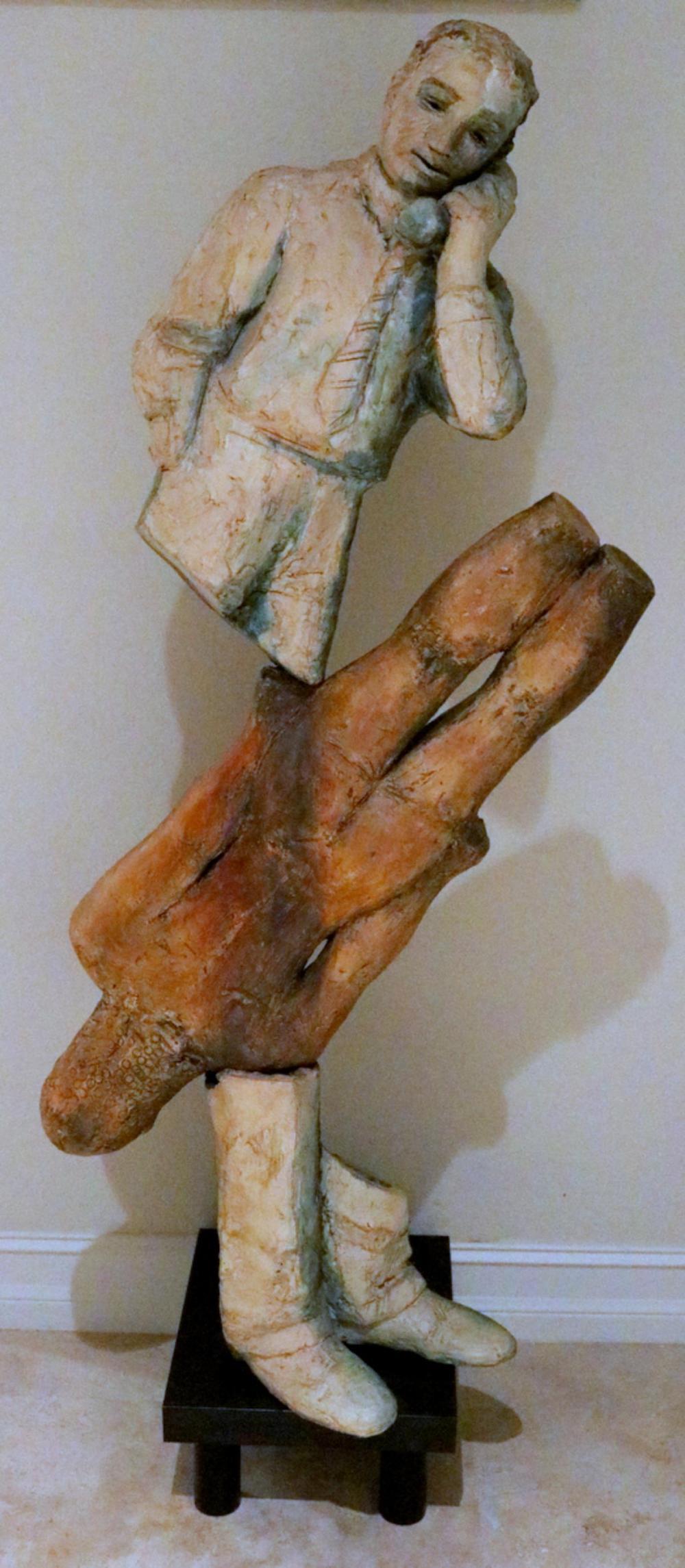 "Susan Low-Beer ""Male Torso with Phone"" Sculpture"