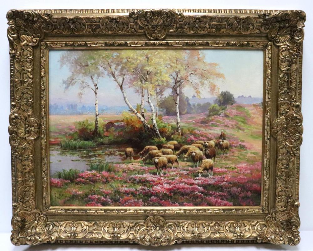 "Edouard Pail (French 1851-1916) ""Moutons Dans Les Bruyeres"" Oil on Canvas"