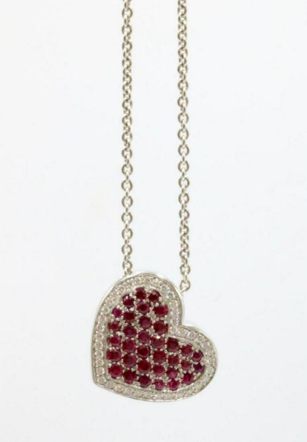 Birks 18Kt Ruby & Diamond Heart Pendant w/ Necklace