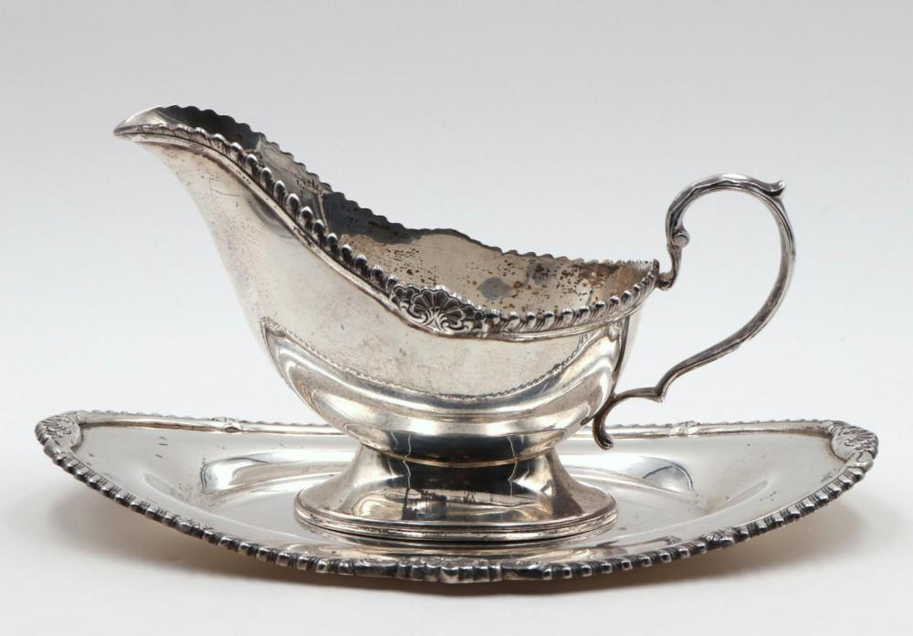 Antique Fisher Sterling Silver Gravy Boat & Tray