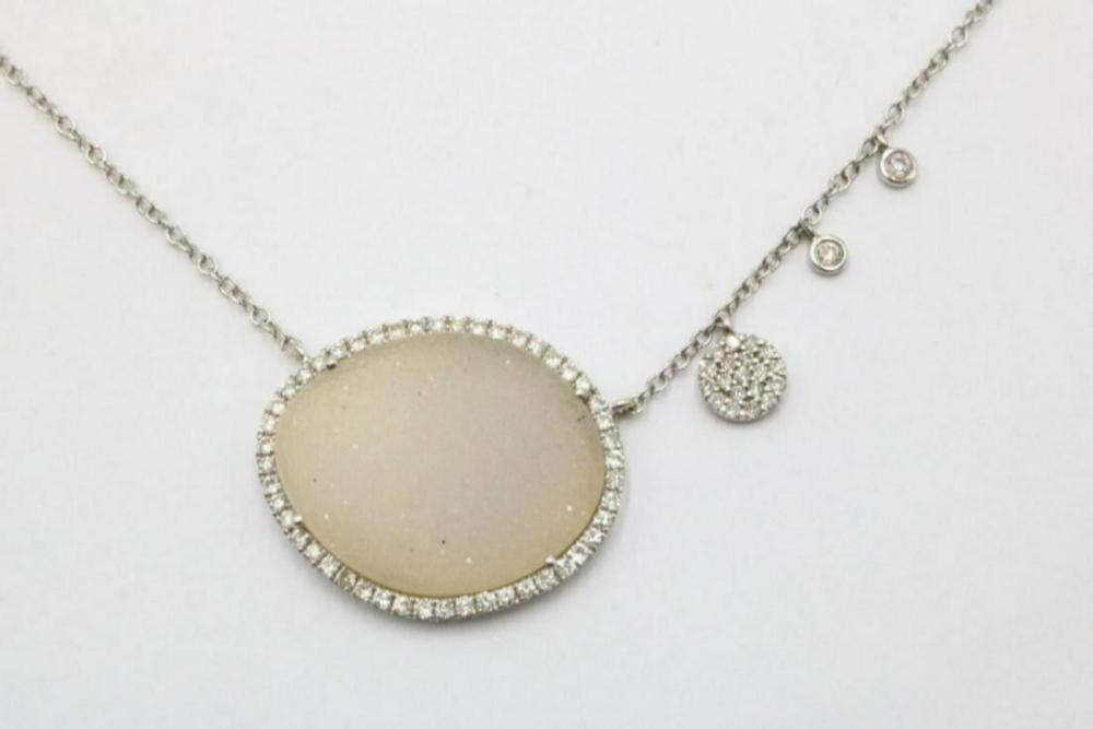 Meira T 14Kt Diamond & Druzy Necklace
