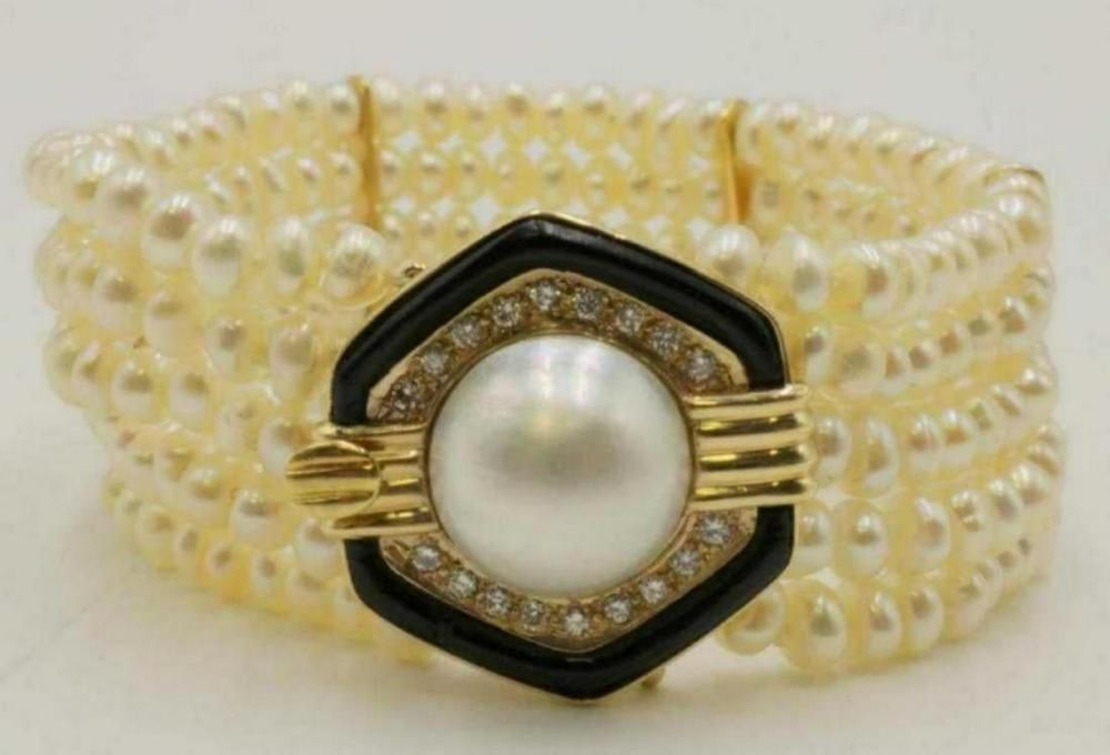 14Kt Diamond, Pearl & Black Onyx Bracelet
