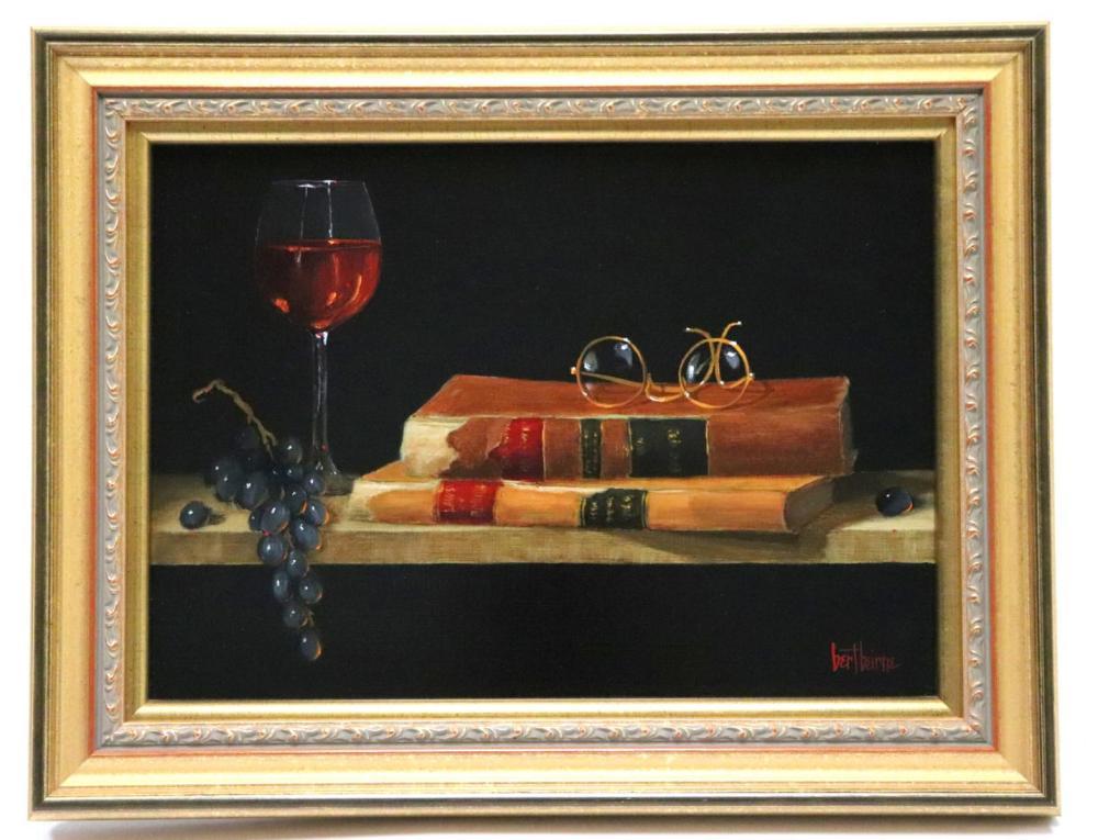 "Bert Beirne (American, b.1939) ""Wine & Books"" Oil on Panel"