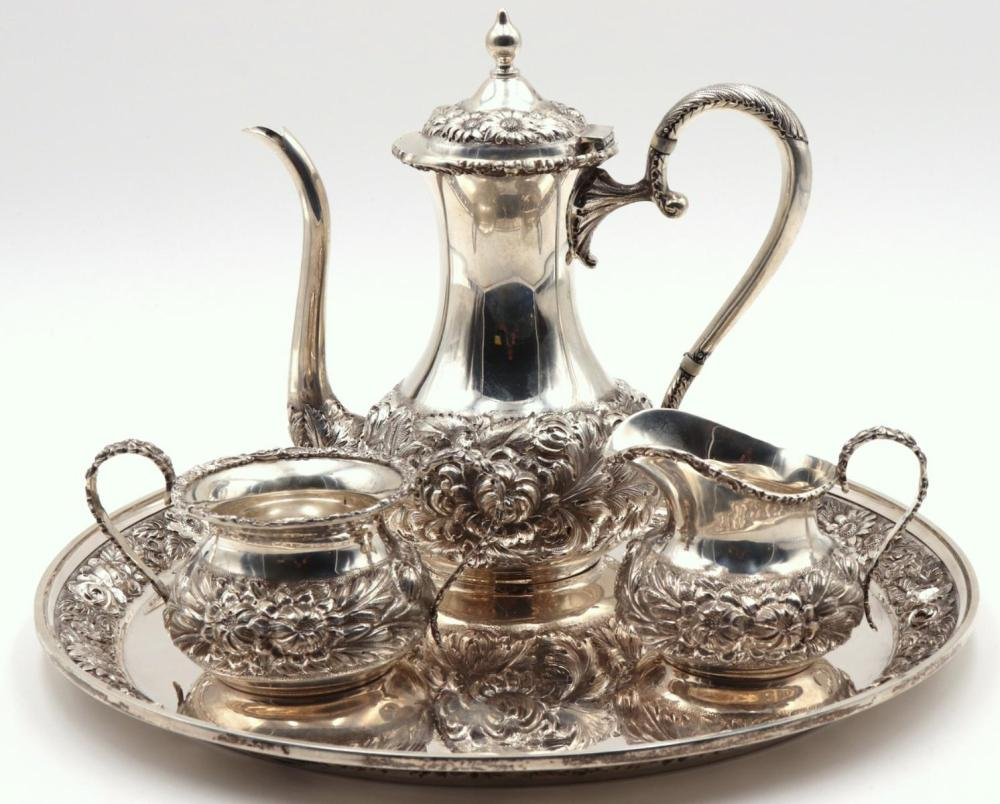 """Stieff """"Repousse"""" Sterling Coffee Set"""