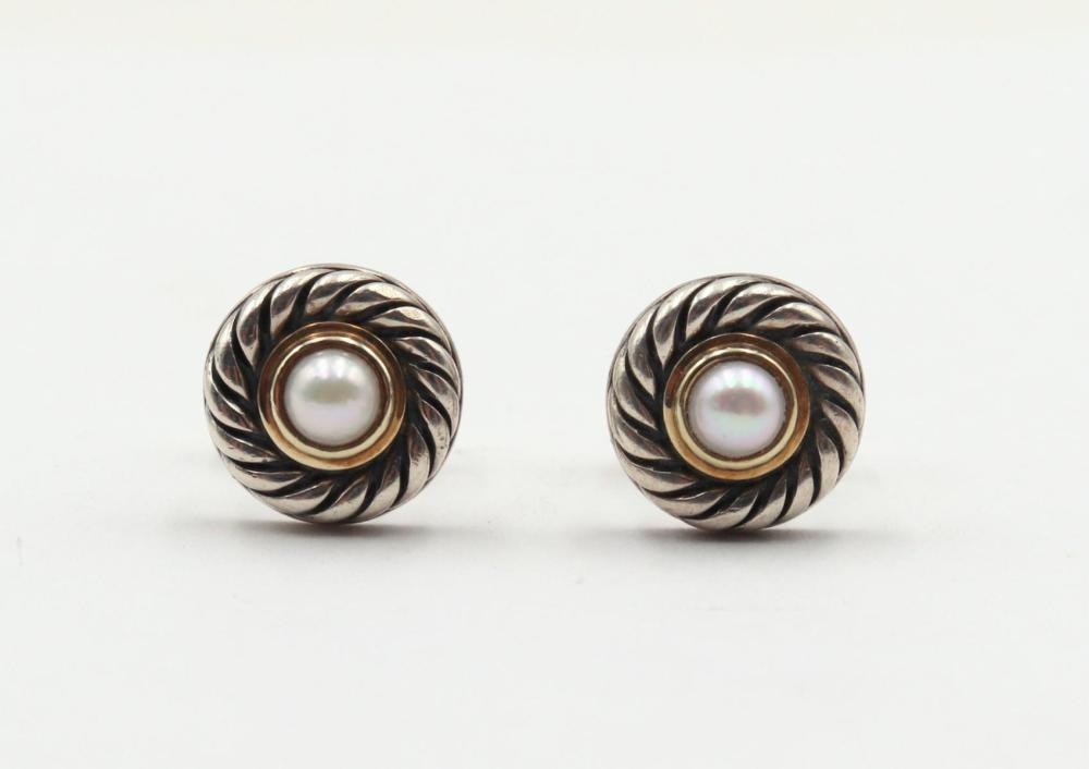 David Yurman Sterling Cable Cookie Stud Earrings
