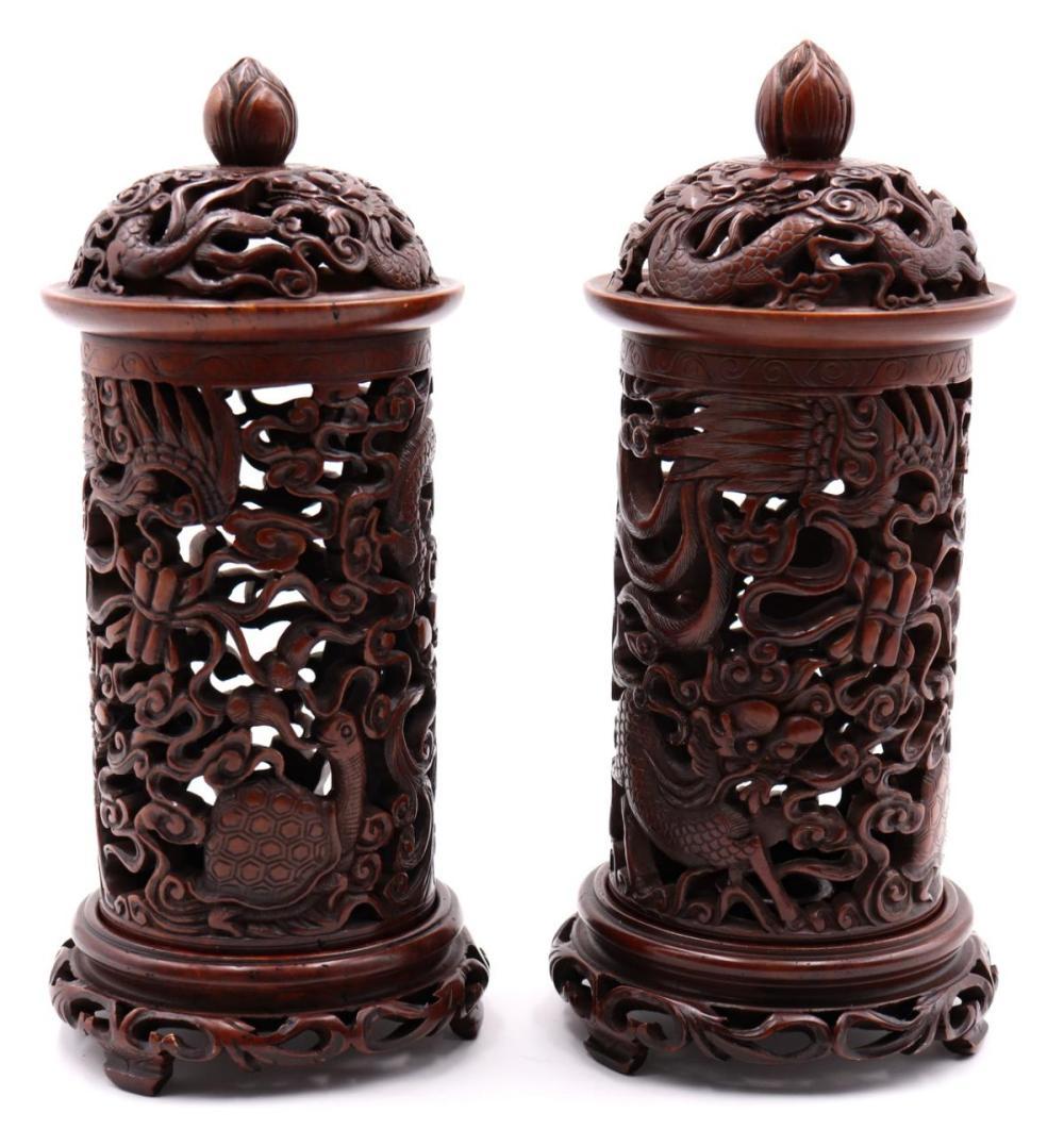 Chinese Hard Stone Candle Holders