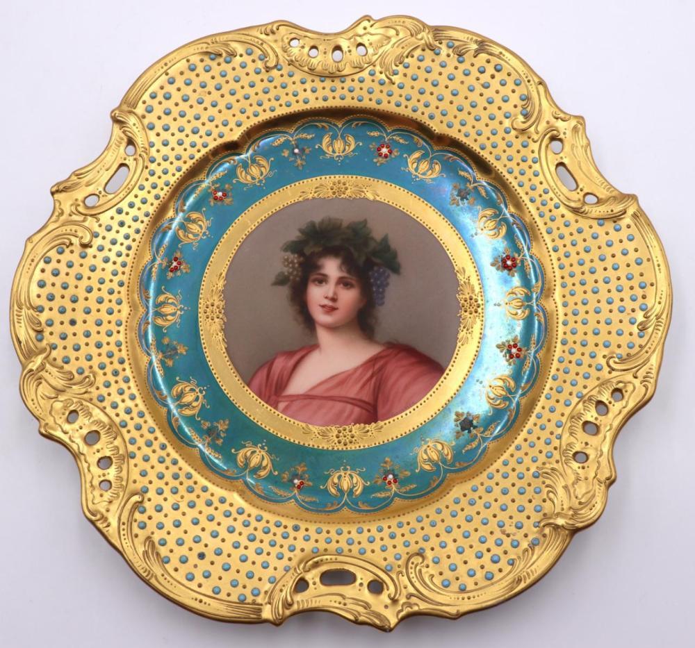Antique European Hand Painted Porcelain Plate