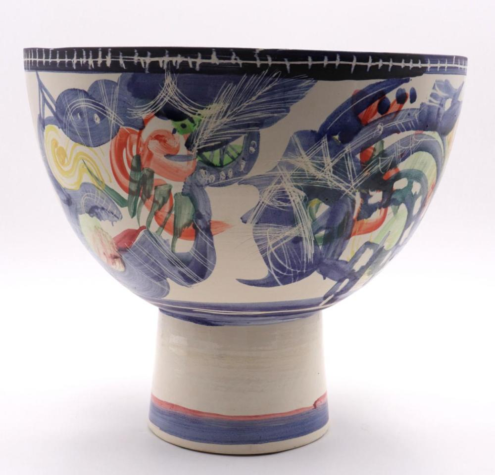 Gilbert Portanier Ceramic Painted Footed Bowl
