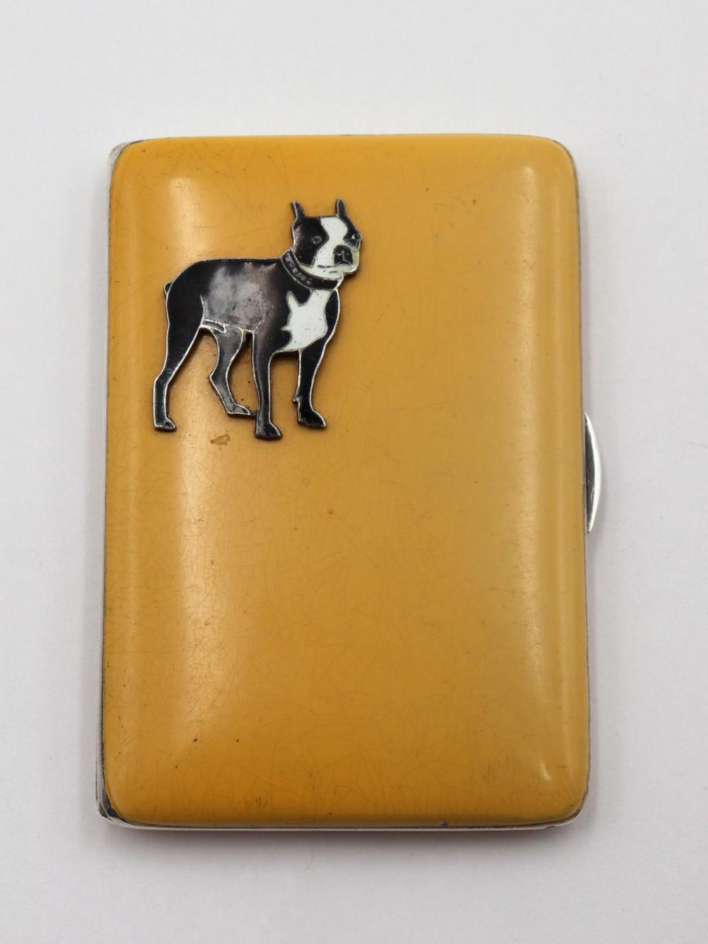 Vintage Enamel & Sterling Cigarette Case