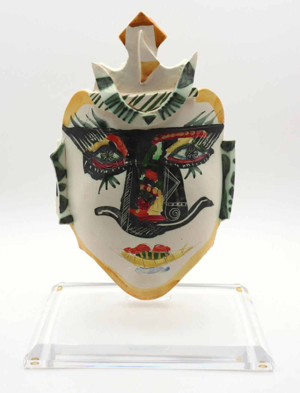 Gilbert Portanier Ceramic Painted Mask w/ Stand