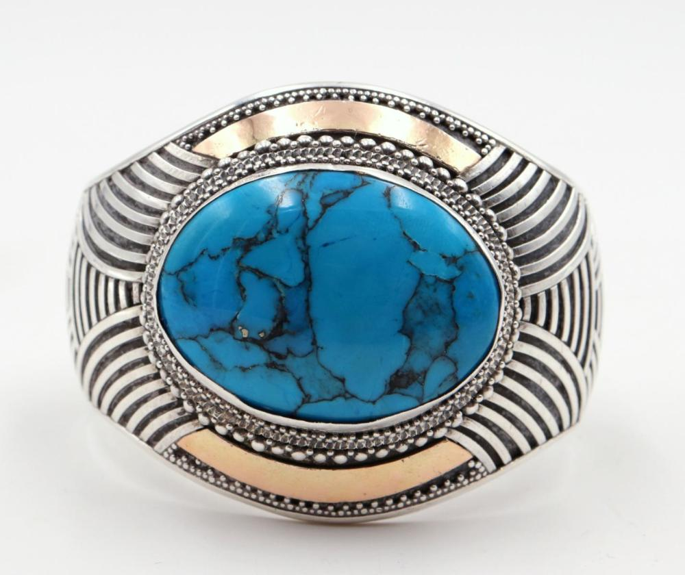 Large Turquoise & Sterling Silver Cuff