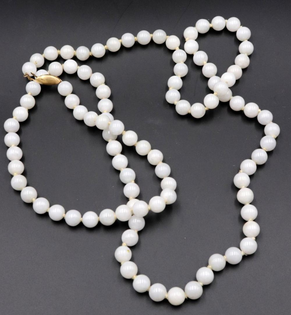 14Kt White Jade Beaded Necklace