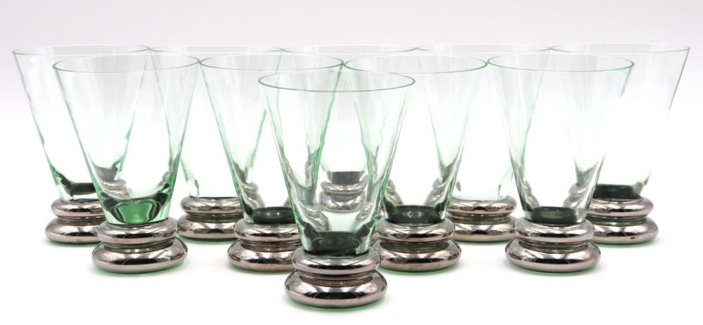 10 Pc. Signed Emerald Green Glasses