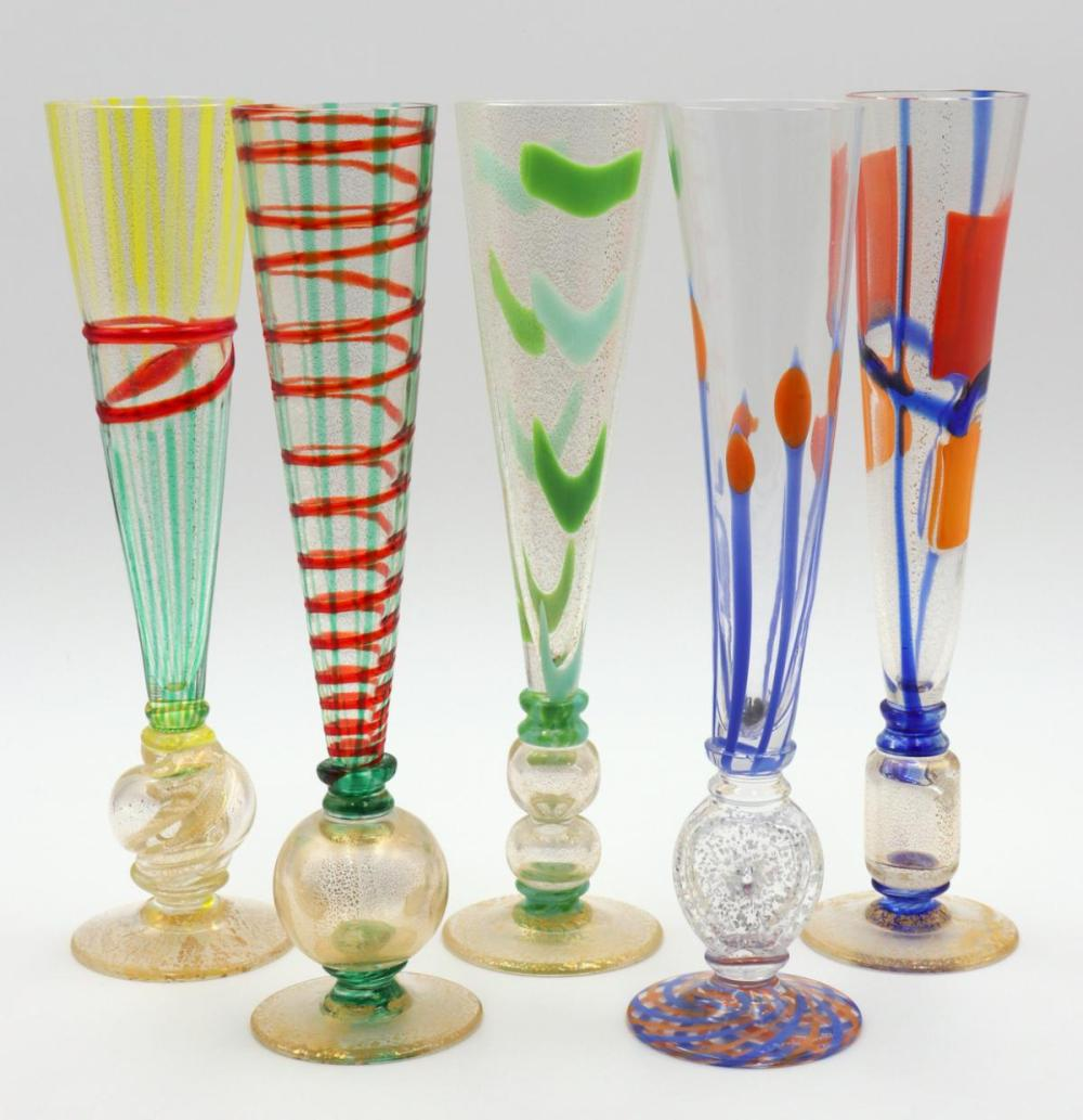 5 Pc. Signed Blown Glass Wine Glasses