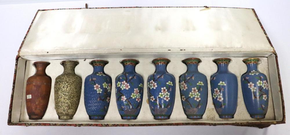 Vintage 8 Pc. Chinese Cloisonne Vases