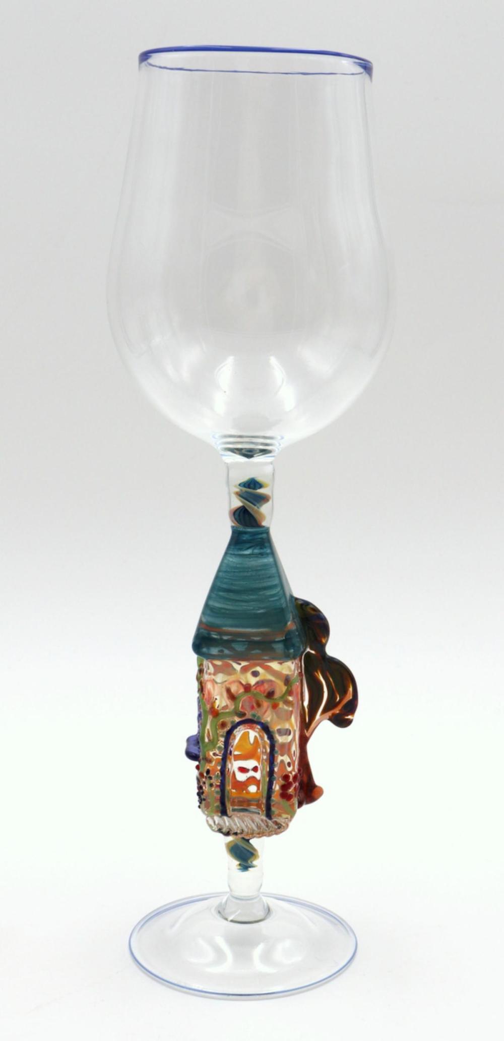 American Blown Art Glass Figural Wine Glass