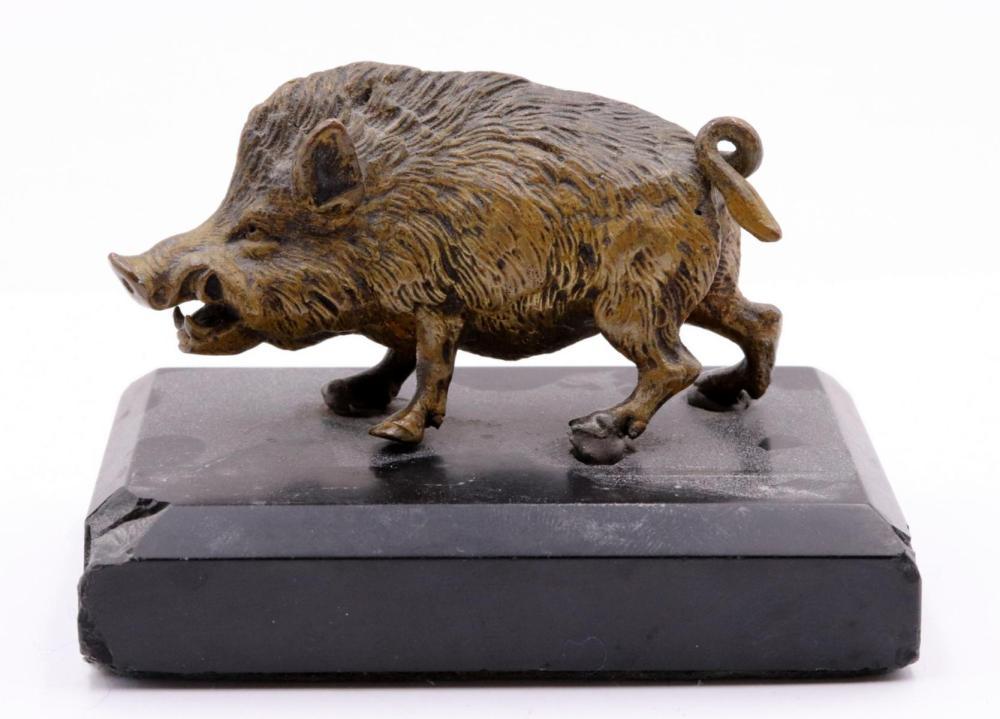 Fine Fierce Boar Bronze Sculpture