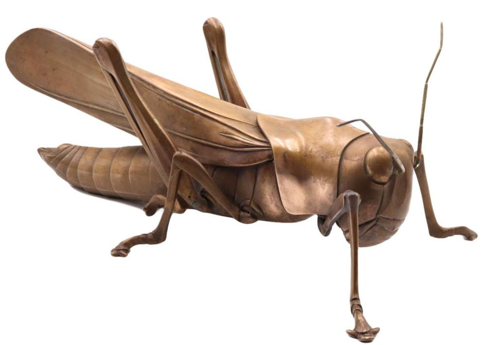 "Philip Grausman (B. 1935) ""Grasshopper"" Bronze Sculpture"