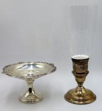Sterling Lamp & Compote