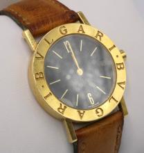 Bvlgari 18Kt YG Unisex Brown Leather Wrist Watch