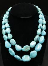Two Sterling & Turquoise Beaded Necklaces