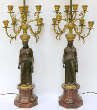 Original Ferdinand Barbedienne (French 1810-1892) Bronze Candelabras