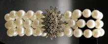 14Kt WG Diamond & 7MM Pearl Bracelet