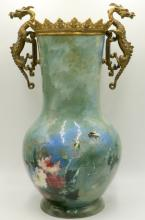 19th C. Dominique Grenet French Hand Painted Faience & Bronze Vase