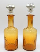 Pair of Antique Amber Glass & Sterling Decanters