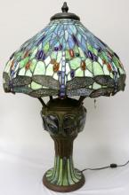 Vintage Tiffany Studios Style Stained Glass & Bronze Lamp