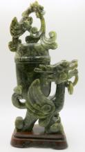 Large Chinese Spinach Green Jade Covered Urn