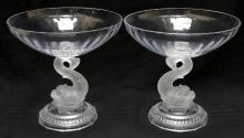 Pair of Dolphin Glass Compotes