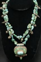 Unique Stering & Turquoise, Coral Necklace