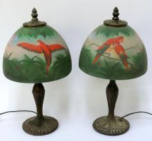 Pair of Antique Reverse Painted Glass Lamps