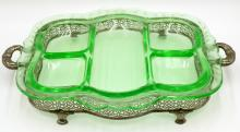 Silver Plated Pierced & Green Glass Serving Tray