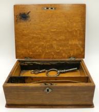 19th C. Tiger Oak Traveling Desk