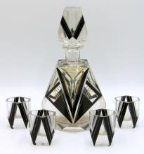 French Art Deco Glass Decanter Set