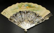 Antique Victorian Sterling & MOP Fan