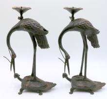 Pair of Vintage Japanese Bronze Crane Candle Holders