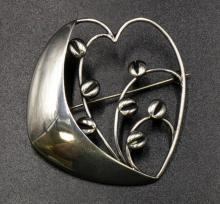 Hugo Grun Denmark Vintage Sterling Brooch