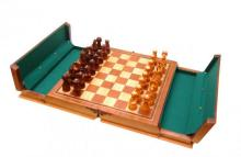 Italian Inlaid Carved Wooden Folding Chess Set