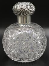 Antique Victorian Cut Crystal & Sterling Perfume Bottle