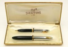 Sheaffers Tuckaway Sentinel Black & Chrome Fountain Pen & Pencil Set